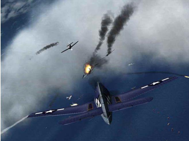 其中一架由下方飞来的飞机突然朝另一架撞去
