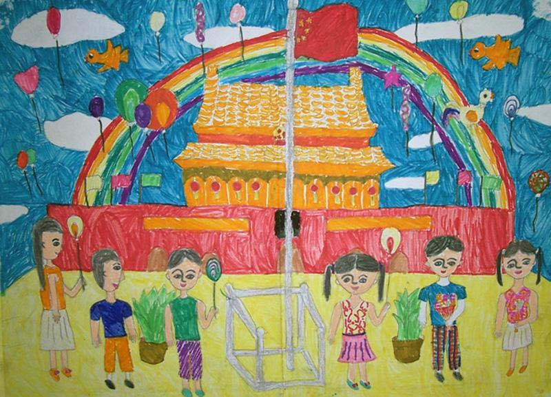 小学生国庆节儿童画-十月国庆节